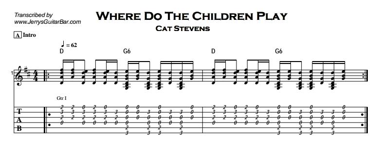 Cat Stevens – Where Do The Children Play Tab