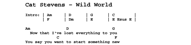 Cat Stevens - Wild World Chords & Songsheet