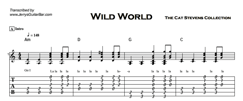 Cat Stevens - Wild World Tab