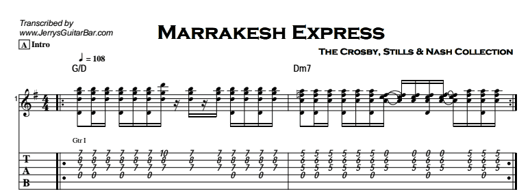 Crosby, Stills & Nash - Marrakesh Express Tab