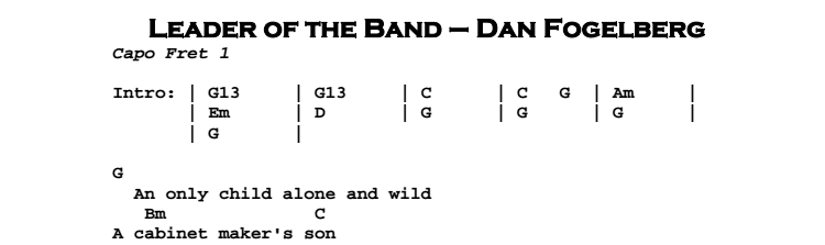 Dan Fogelberg – Leader of the Band Chords & Songsheet