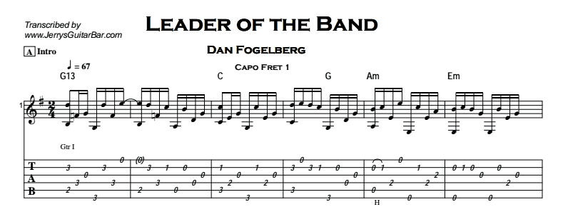 Dan Fogelberg – Leader of the Band Tab
