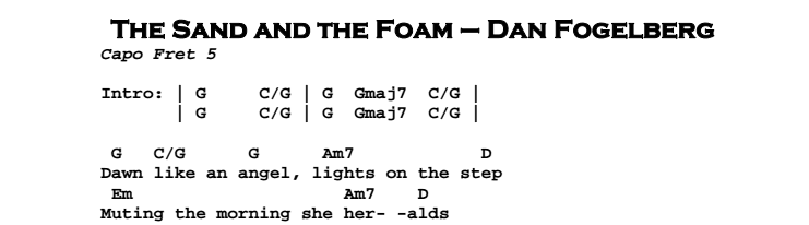 Dan Fogelberg – The Sand and the Foam Chords & Songsheet
