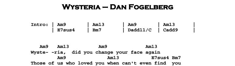 Dan Fogelberg - Wysteria Chords & Songsheet
