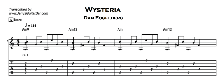 Dan Fogelberg - Wysteria Tab