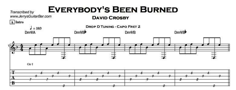 David Crosby – Everybody's Been Burned Tab