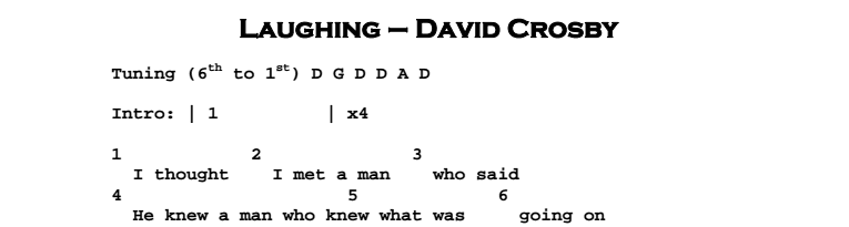 David Crosby - Laughing Chords & Songsheet