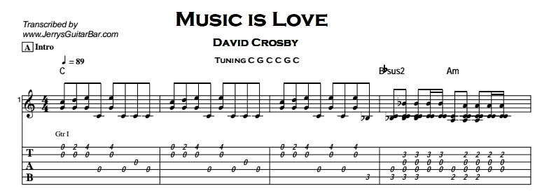 David Crosby – Music is Love Tab