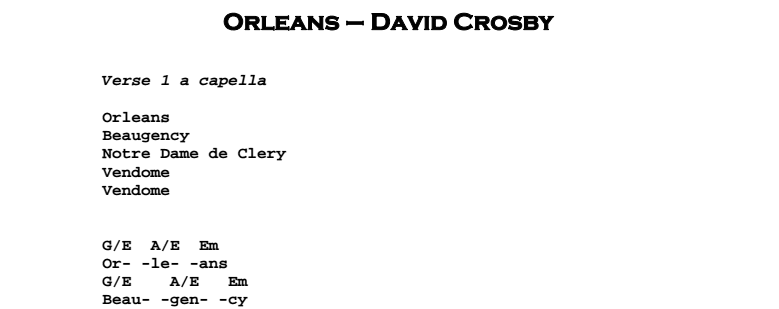 David Crosby – Orleans Chords & Songsheet