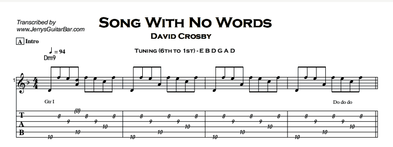 David Crosby – Song With No Words (Tree With No Leaves) Tab