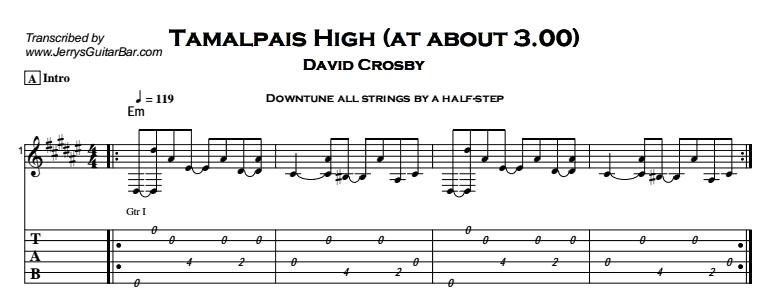 David Crosby – Tamalpais High (at about 3.00) Tab