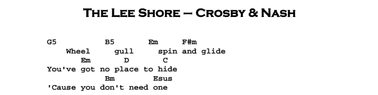 David Crosby – The Lee Shore Chords & Songsheet