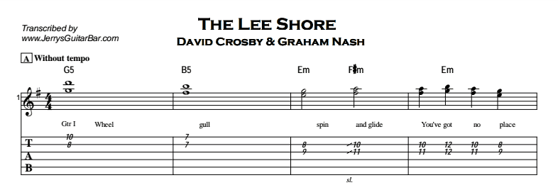 David Crosby – The Lee Shore Tab