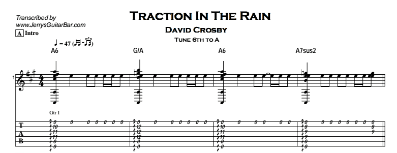 David Crosby – Traction in the Rain Tab