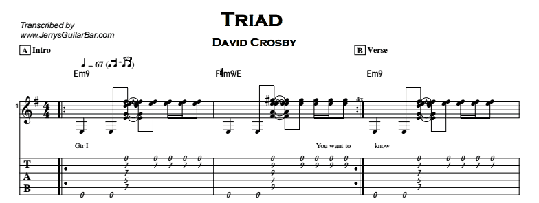 David Crosby – Triad Tab