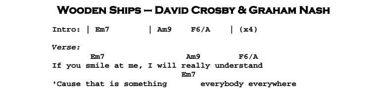 David Crosby – Wooden Ships Chords & Songsheet