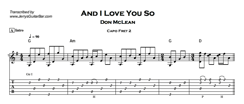 Don McLean – And I Love You So Tab