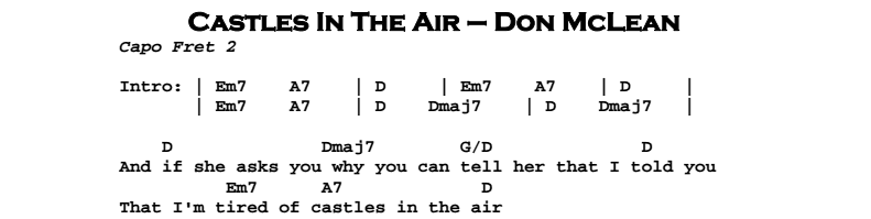 Don McLean – Castles in the Air Chords & Songsheet
