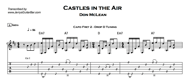 Don McLean – Castles in the Air Tab