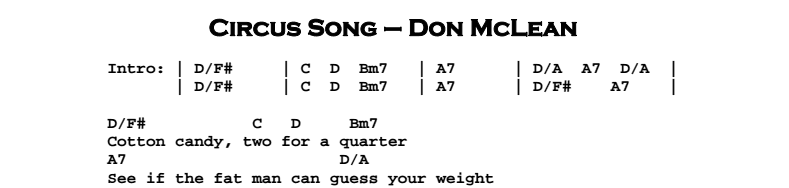 Don McLean – Circus Song Chords & Songsheet