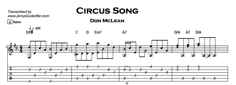 Don McLean – Circus Song Tab