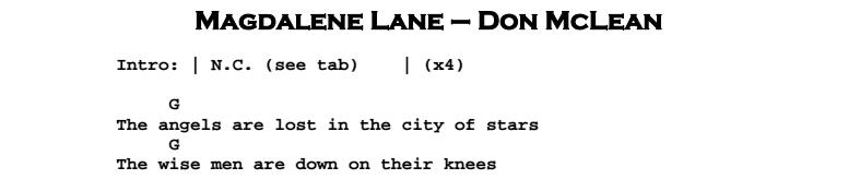 Don McLean – Magdalene Lane Chords & Songsheet