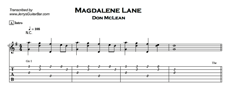 Don McLean – Magdalene Lane Tab