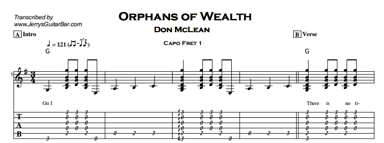 Don McLean – Orphans of Wealth Tab