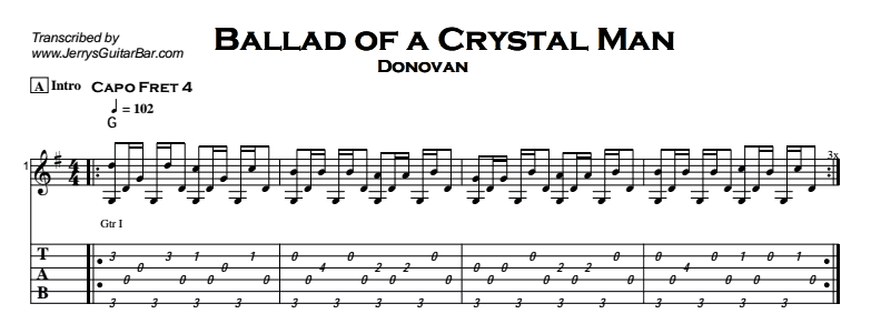 Donovan - Ballad of a Crystal Man Tab