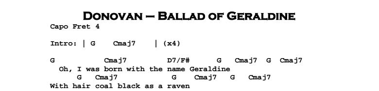 Donovan - Ballad of Geraldine Chords & Songsheet
