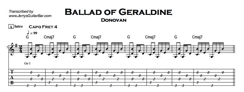 Donovan - Ballad of Geraldine Tab