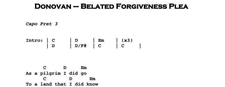 Donovan - Belated Forgiveness Plea Chords & Songsheet