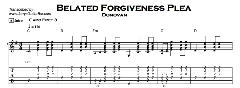 Donovan - Belated Forgiveness Plea Tab