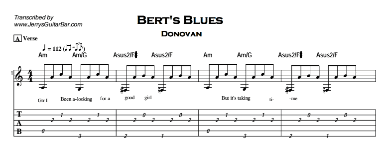 Donovan – Bert's Blues Tab