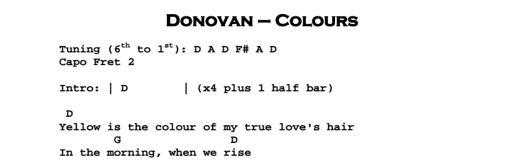 Donovan - Colours Chords & Songsheet