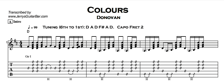 Donovan - Colours - Guitar Lesson by Jerry\'s Guitar Bar