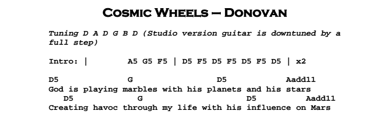 Donovan – Cosmic Wheels | Guitar Lesson, Tab & Chords | JGB