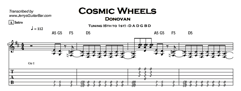 Donovan – Cosmic Wheels Tab