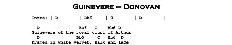 Donovan - Guinevere Chords & Songsheet
