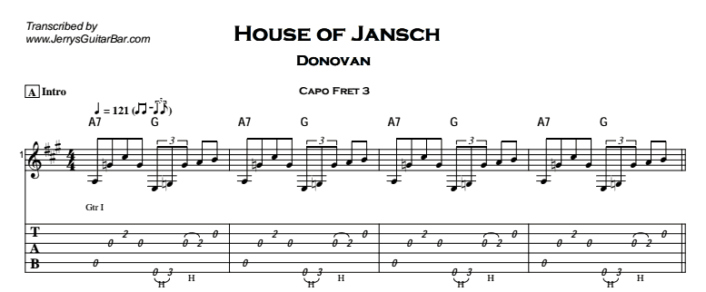 Donovan – House of Jansch Tab