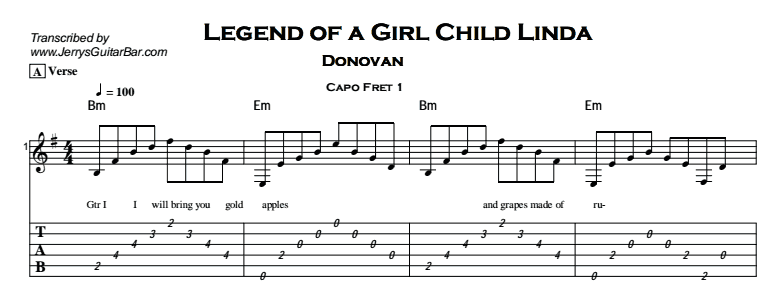 Donovan – Legend of a Girl Child Linda Tab