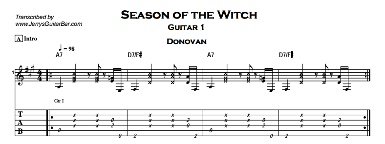 Donovan – Season of the Witch Tab