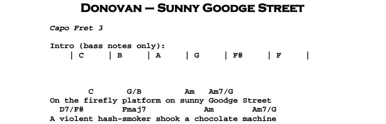 Donovan - Sunny Goodge Street Chords & Songsheet