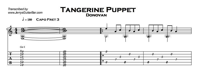 Donovan Tangerine Puppet Guitar Lesson By Jerrys Guitar Bar