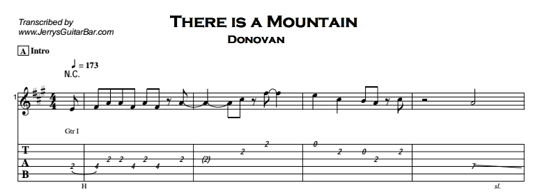 Donovan – There is a Mountain Tab