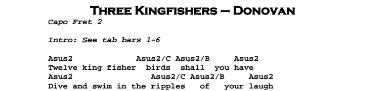 Donovan – Three Kingfishers Chords & Songsheet