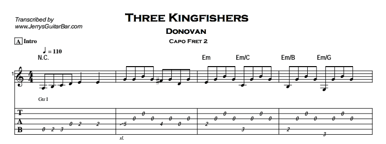 Donovan – Three Kingfishers Tab