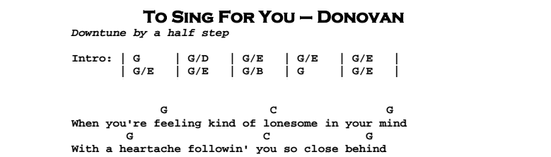 Donovan – To Sing For You Chords & Songsheet