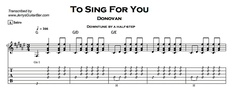 Donovan – To Sing For You Tab
