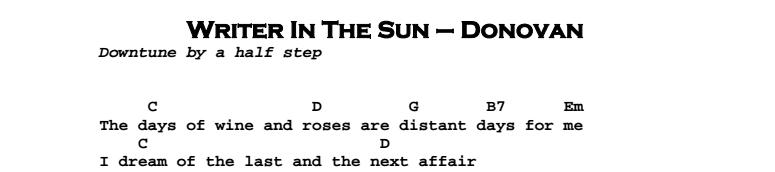 Donovan – Writer In The Sun Chords & Songsheet